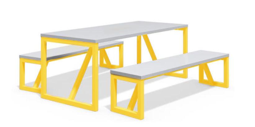 שולחן פיקניק אפור רגליים צהובות