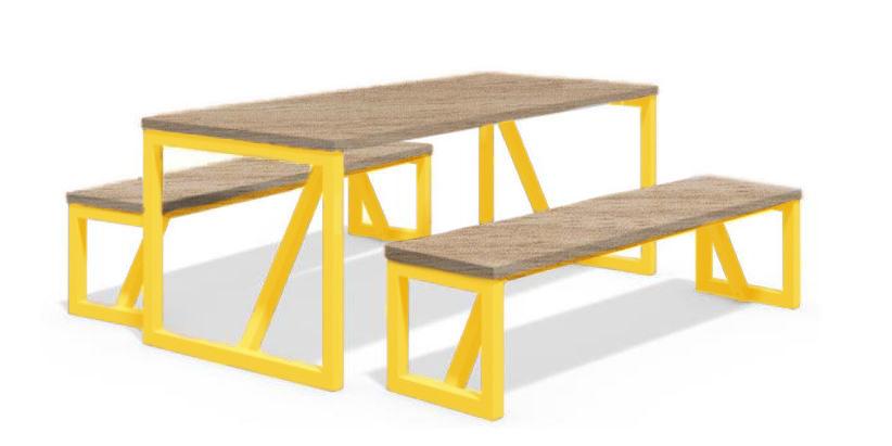 שולחן פיקניק עץ רגליים צהובות